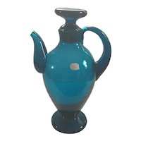 Mid Century Modern Teal Blue Blenko Decanter with Stopper circa 1956
