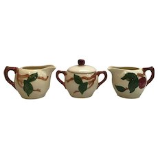 Franciscan Ware Apple Sugar Bowl with Two Creamers