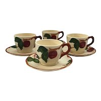 Set of 4 Franciscan Apple Cups and Saucers