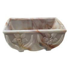 Akro Agate Planter with Flowers