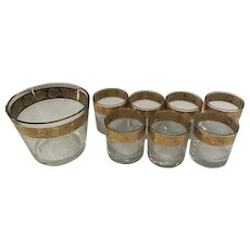 Set of 7 Culver Tyrol old-Fashioned Glasses with Matching Ice Bucket