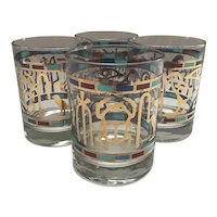 Set of 4 Signed Couroc of Monterey Glasses in the Egyptian Pattern