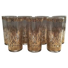 Set of 7 Signed Culver Espana High Ball Glasses