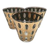 Set of 3 Culver Pisa Low- Ball Rocks Glasses