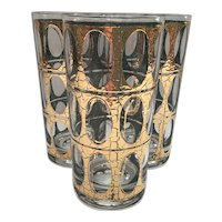 Set of 3 Pisa pattern High Ball Culver Glasses
