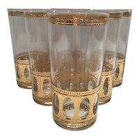 Set of 6 Culver Antigua High Ball 22k Glasses