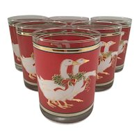 Set of 6 signed Culver Christmas Goose Glasses