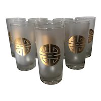 Mid Century Set of 8 Gumps Highball Glasses with an Asian Motif