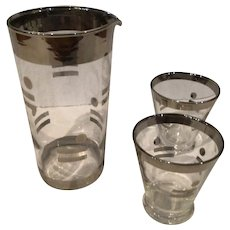 Federal Glass Company Mid Century Barware Pitcher and Two Shot Glasses