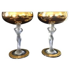 Bagel Wine Goblets with Gold Bowl and Frosted Crystal Nude Lady Stems