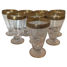 Tiffin Franciscan Minton Optic Gold Rimmed Footed Iced Tea Tumblers