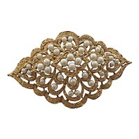 Pearl Costume Pin Signed Trifari