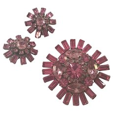 Pink Rhinestone  Pin and Earrings Set marked Austria