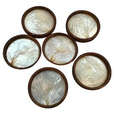 Set of Six Coasters Lined with Opalescent Shell