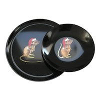 Set of 2 Couroc Christmas Mouse Trays