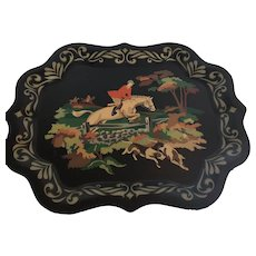 Vintage paint by Numbers Tray with Hunting Scene