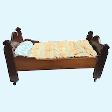 Large wooden  Doll Bed with Gothic Posts