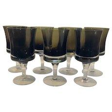 7 Denby Mirage Brown Wine Goblets