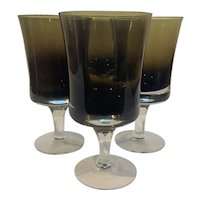 4 Denby Mirage Brown Crystal Water Goblets