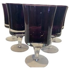 6 Denby Mirage Purple Water Goblets