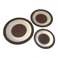 Denby Pottery Potters Wheel Set of 3 Plates