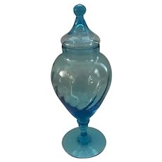 Large Empoli Apothecary Jar with Circus Tent Lid