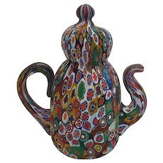 Fratelli Toso Mid Century Millifiore Teapot Paperweight