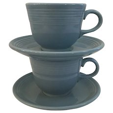 Set of 2 Fiestaware Cups and Saucers in Periwinkle