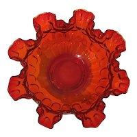 Large Fenton Amberina Thumbprint Ruffled Rose Bowl