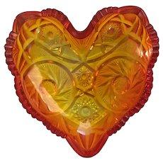 Fenton Amberina Heart Trinket Dish
