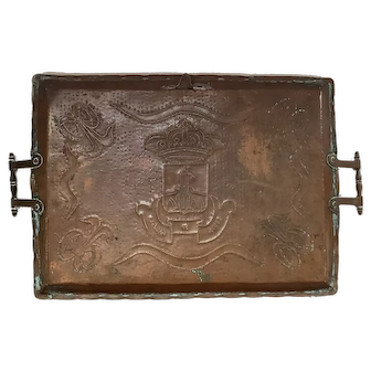 Antique French Handmade Copper Tray