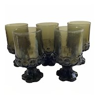 5 Franciscan Madeira Water Goblets in Dark Olive