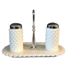 Fenton Hobnail Milk Glass Salt and Pepper Shakers with Tray