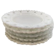 Set of 5 Opalescent Reticulated Milk Glass Dessert Plates