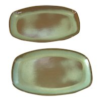 Set of 2 Frankoma Pottery Green Trays