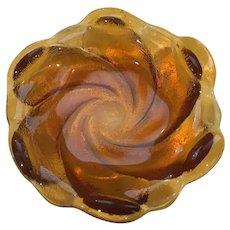 Fenton Amber Swirled Glass Trinket Dish