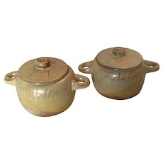 Set of 2 Frankoma  Individual Covered Casseroles in the Wagon Wheel Pattern