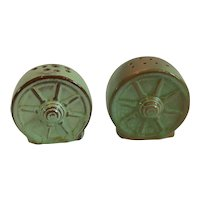 Frankoma Pottery Wagon Wheel Salt and Pepper Shakers