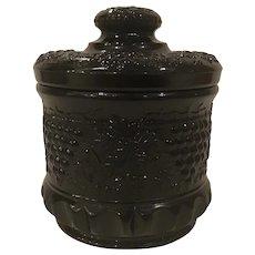 Fenton Black Glass Tobacco Jar