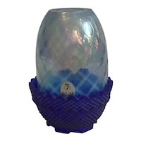 Fenton Fairy Lamp with Cobalt Bottom and Light Blue Diamond Optic Quilted Opalescent Basketweave Shade
