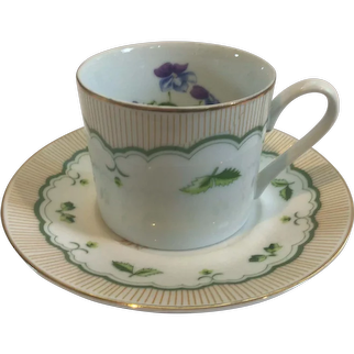"George Briard Victorian Garden Cup and Saucer "" Birds Foot Violet"""