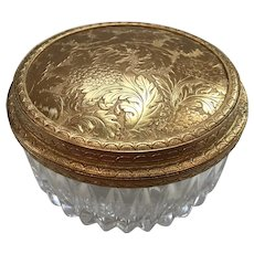 Bleikrisrall Crystal and Ormolu Trinket Box made in West Germany