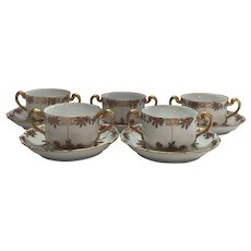 Set of 5 T&V Limoges Cups and Saucers