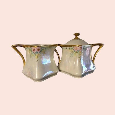 Made in Germany Hand Painted Lustreware Cream and Sugar circa 1919
