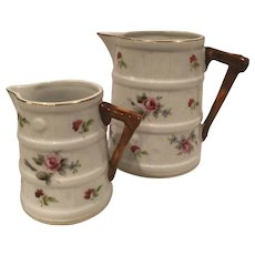 2 Hand Painted Pitchers with Faux Bois and Painted Roses