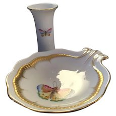Herend Porcelain Guild Pieces, Dish 2004, Small Vase 2010