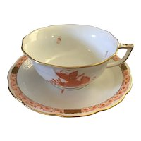 Herend Porcelain Chinese Bouquet Cup and Saucer