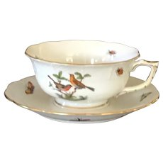 Herend Rothschild Bird Large Cup and Saucer