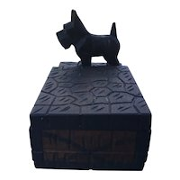 Hand Carved Scottie Dog Desk Accessory Box