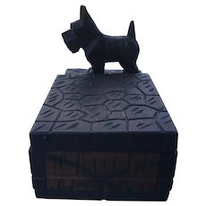 Hand Carved Scottie Dog Desk Accessory Box